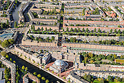 Nederland, Noord-Holland, Amsterdam, 27-09-2015; stadsdeel Amsterdam-West (de Baarsjes) met aan het Piri Reisplein de Milli Gorus Westermoskee (Ayasofya Camii). Voormalig Riva-terrein. Kostverlorenkade.<br /> Westermoskee (Western Mosque) in western part of Amsterdam.<br /> <br /> luchtfoto (toeslag op standard tarieven);<br /> aerial photo (additional fee required);<br /> copyright foto/photo Siebe Swart