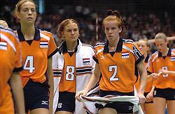 22-06-2000 JAP: OKT Volleybal 2000, Tokyo<br /> Nederland - Korea 3-1 / Erna Brinkman, Marrit Leenstra en Jettie Fokkens