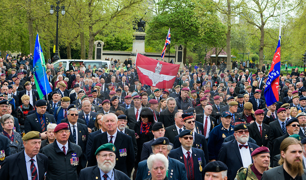 © Licensed to London News Pictures. <br /> 14/4/2017. London, Great Britain. <br /> Veterans during the Justice for Northern Ireland Veterans March in central London.<br /> They are protesting the prosecution of former Service men and women who served in Northern Ireland during the Troubles.<br /> Photo credit: Anthony Upton/LNP