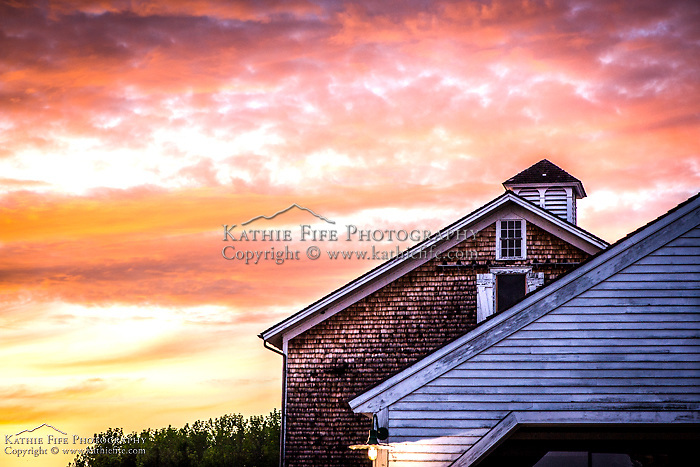 Sunset over historic Canterbury Shaker Village.<br /> <br /> All Content is Copyright of Kathie Fife Photography. Downloading, copying and using images without permission is a violation of Copyright.