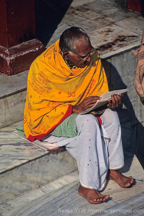 Asia, India, Varanasi.  Worship at the Durga Temple in Varanasi.