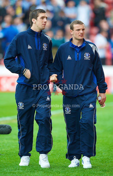 STOKE, ENGLAND - Saturday, May 1, 2010: Everton's Shane Duffy and James Wallace before the Premiership match against Stoke City at Britannia Stadium. (Photo by David Rawcliffe/Propaganda)