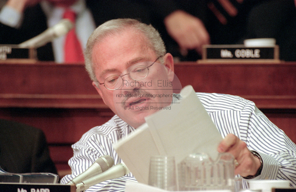 Rep. Bob Barr of the House Judiciary Committee during hearings on whether impeachment proceedings should begin against President Bill Clinton October 5, 1998 in Washington, DC. This is only the third time in US history that impeachment proceedings against a President have been brought to the House committee.