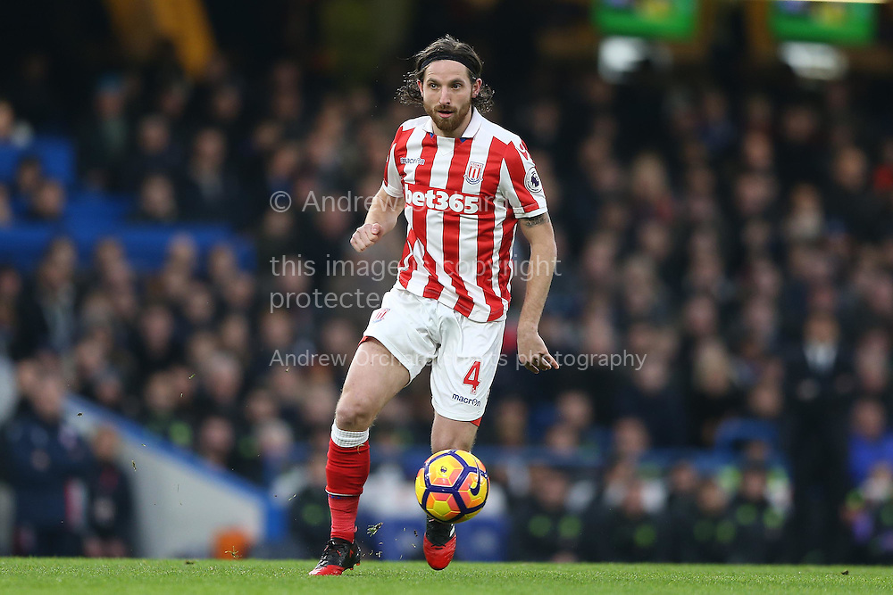 Joe Allen of Stoke City in action. Premier league match, Chelsea v Stoke city at Stamford Bridge in London on Saturday 31st December 2016.<br /> pic by John Patrick Fletcher, Andrew Orchard sports photography.