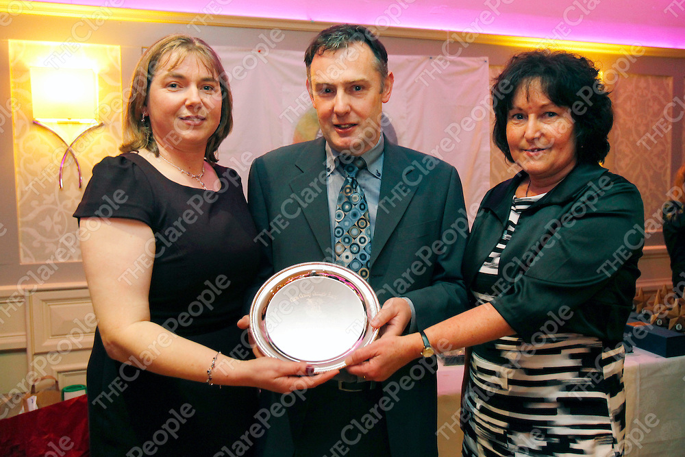 06/01/12<br /> Orla Considine, County Chairperson, John Dolan, Award in recognition of his refereeing and Marie Louise Kaiser, County Secretary pictured at the Clare Camogie Board Awards Night which took place at The Auburn Lodge Hotel, Ennis on Friday Night.<br /> Pic: Don Moloney/Press 22