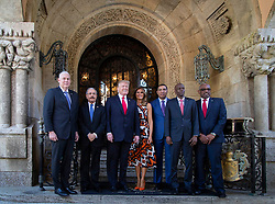 March 22, 2019 - West Palm Beach, Florida, U.S. - President Donald J. Trump and First Lady Melanie Trump host Caribbean leaders (L to R) Allen Chastanet, Saint Lucia, Danilo Medina, Dominican Republic, Andrew Holness, Jamaica, Jovenel Moise, Haiti and Hubert Minnis Bahamas, at Mar-a-Lago, Friday. (Credit Image: © Allen Eyestone/The Palm Beach Post via ZUMA Wire)