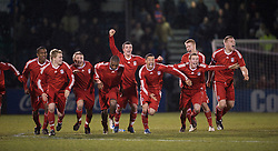 BRISTOL, ENGLAND - Thursday, January 15, 2009: Liverpool players celebrate their penalty shoot-out victory over Bristol Rovers during the FA Youth Cup match at the Memorial Stadium. L-R: Andre Wisdom, Chris Buchtmann, Jack Metcalf, David Amoo, James Ellison, Nathan Eccleston, Steven Irwin, Lauri Dalla Valle and captain Joe Kennedy. (Mandatory credit: David Rawcliffe/Propaganda)