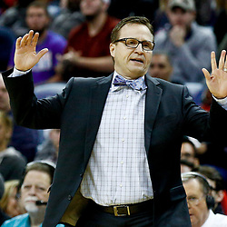 Jan 29, 2017; New Orleans, LA, USA; Washington Wizards head coach Scott Brooks against the New Orleans Pelicans during the second half of a game at the Smoothie King Center. The Wizards defeated the Pelicans 107-94. Mandatory Credit: Derick E. Hingle-USA TODAY Sports