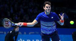 Canada's Milos Raonic in action against Austria's Dominic Thiem during day five of the Barclays ATP World Tour Finals at The O2, London.
