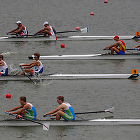 Athletes compete in rowing Junior Men's Pair Final A at Xuan Wu Lake in Nanjing Youth  Olympic Games  2014 in Nanjing, China, 20 August 2014. The Nanjing Youth Olympic Games 2014 runs from from 16 to 28 August  2014.
