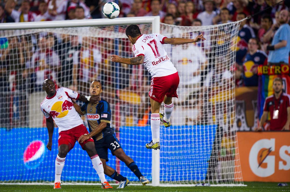 HARRISON, NJ - AUGUST 17:  Tim Cahill #17 of New York Red Bulls in action during the game against the Philadelphia Union at Red Bulls Arena on August 17, 2013. (Photo By: Rob Tringali)