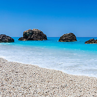 Megali Petra beach in Lefkada island
