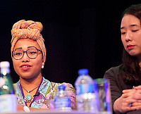 Yassmin Abdel-Magied, Muslim Sudanese-Australian engineer, author, television and radio presenter and activist, AND Korean novelist Han Yujoo discussing 'Free Speech and Cultural Appropriation' at the Dalkey Book Festival, Dalkey, County Dublin, Ireland, Sunday 18th June 2017. Photo credit: Doreen Kennedy