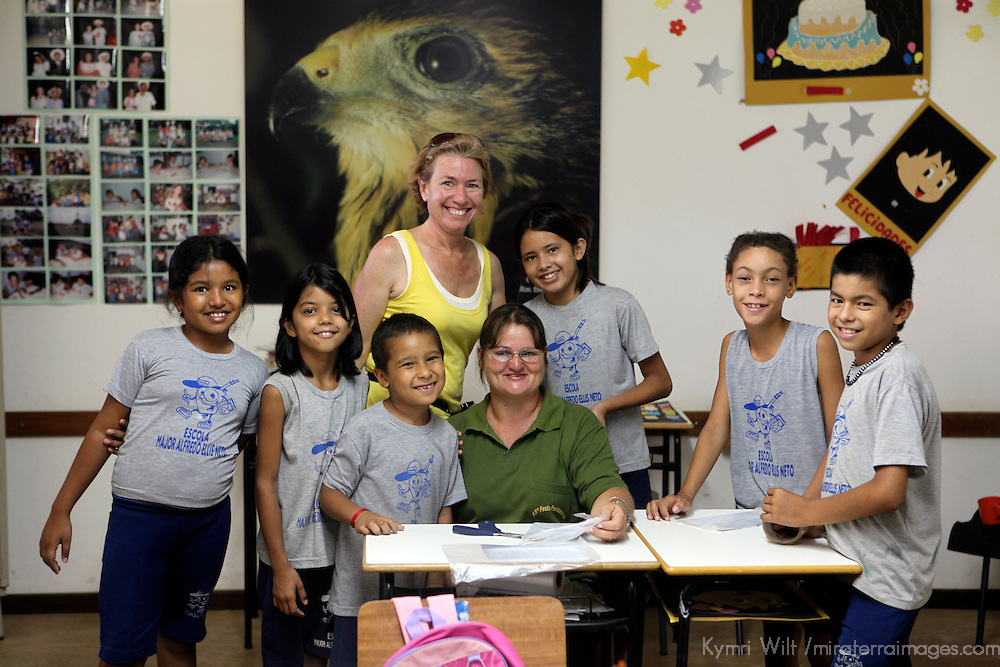 South America, Brazil, Pantanal. Primary school at the Caiman Ecological Refuge.
