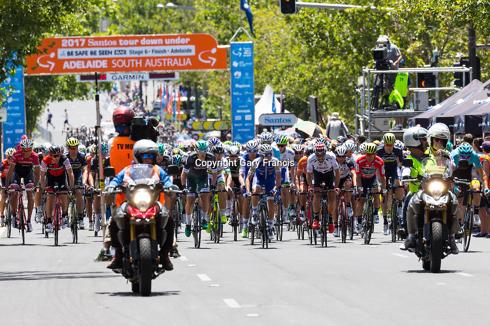 Peloton at the start of Stage 6 of the Tour Down Under, Australia on the 22 of January 2017 ( Credit Image: © Gary Francis / ZUMA WIRE SERVICE )