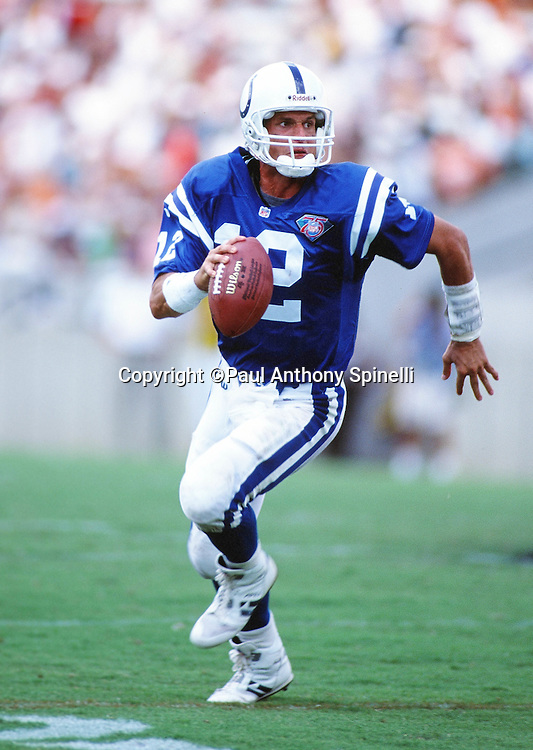 Indianapolis Colts quarterback Jim Harbaugh (12) rolls away from pressure as he looks to pass during the NFL football game against the Tampa Bay Buccaneers on Sept. 11, 1994 Tampa, Fla. The Bucs won the game 24-10. (©Paul Anthony Spinelli)
