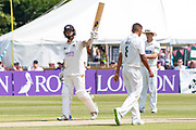 50- Chris Dent acknowledges the crowd on reaching 50 during the Specsavers County Champ Div 2 match between Gloucestershire County Cricket Club and Leicestershire County Cricket Club at the Cheltenham College Ground, Cheltenham, United Kingdom on 16 July 2019.