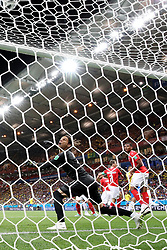 ROSTOV-ON-DON, June 17, 2018  Goalkeeper Yann Sommer (L front) of Switzerland competes during a group E match between Brazil and Switzerland at the 2018 FIFA World Cup in Rostov-on-Don, Russia, June 17, 2018. (Credit Image: © Li Ming/Xinhua via ZUMA Wire)