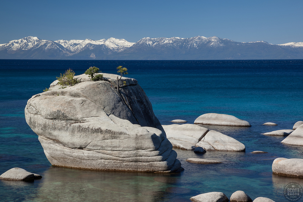 """Bonsai Rock, Lake Tahoe 2"" - Photograph of Bonsai Rock and a very blue Lake Tahoe."