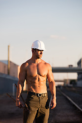 muscular construction worker without a shirt
