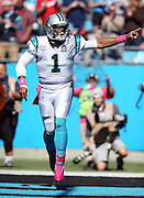 Carolina Panthers quarterback Cam Newton (1) points and celebrates after the Panthers score a third quarter touchdown that ties the score at 21-21 during the NFL week 5 regular season football game against the Chicago Bears on Sunday, Oct. 5, 2014 in Charlotte, N.C. The Panthers won the game 31-24. ©Paul Anthony Spinelli