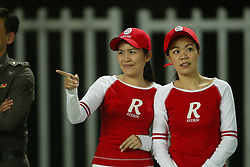 BANGKOK, THAILAND - Thailand. Thursday, July 24, 2003: Thai cheerleaders during a preseason friendly match at the Rajamangala National Stadium. (Pic by David Rawcliffe/Propaganda)