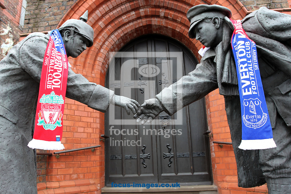 The &quot;All together now&quot; statue, which commemorates the famous football game during the First World War between British and German soldiers, outside Goodison Park before the Barclays Premier League match between Everton and Liverpool.<br /> Picture by Michael Sedgwick/Focus Images Ltd +44 7900 363072<br /> 07/02/2015