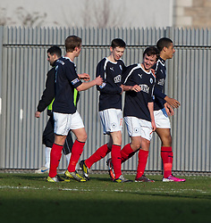 Falkirk's Thomas Grant (7, 2nd right) scoring their first goal..half time : Dumbarton v Falkirk, 23/2/2013..©Michael Schofield.