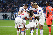 Joy Bertrand Traore of Lyon and Jordan Ferri of Lyon and Mariano Diaz of Lyon and Lucas Tousart of Lyon and Myziane Maolida of Lyon during the French Championship Ligue 1 football match between Olympique Lyonnais and SM Caen on march 11, 2018 at Groupama stadium in Decines-Charpieu near Lyon, France - Photo Romain Biard / Isports / ProSportsImages / DPPI