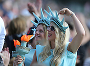 Two fans dressed as Stadues of Liberty during the Rugby World Cup 2015 match between Samoa and USA at the Brighton Community Stadium, Falmer, United Kingdom on 20 September 2015.