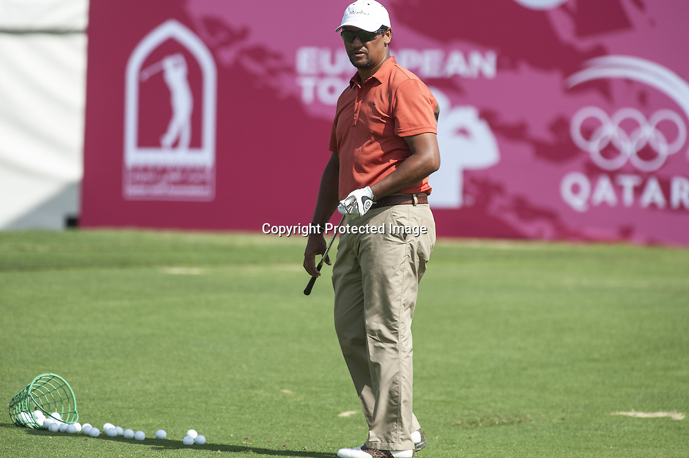 25-01-13 European Tour 2013, Commercial Bank Qatar Masters, Doha GC, Doha, Qatar. 23-26 Jan. Michael  Campbell of New Zealand  practicing before the third round.