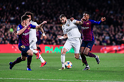 February 6, 2019 - Barcelona, BARCELONA, Spain - 09 Karim Benzema of Real Madrid defended by 15 Lenglet of FC Barcelona and 02 Nelson Semedo of FC Barcelona during the semi-final first leg of Spanish King Cup / Copa del Rey football match between FC Barcelona and Real Madrid on 04 of February of 2019 at Camp Nou stadium in Barcelona, Spain (Credit Image: © AFP7 via ZUMA Wire)