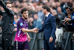 (L-R) Yassin Ayoub of FC Utrecht, coach Jean Paul de Jong of FC Utrecht during the Dutch Eredivisie match between Feyenoord Rotterdam and FC Utrecht at the Kuip on April 15, 2018 in Rotterdam, The Netherlands