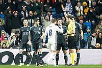 Spanish referee Mario Melero Lopez show red card to Real Sociedad's Inigo Martinez during La Liga match. January 29,2017. (ALTERPHOTOS/Acero)