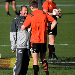Assistant coach Ian Foster talks to Jordie Barrett during the 2017 DHL Lions Series NZ All Blacks captain's run at Eden Park in Auckland, New Zealand on Friday, 7 July 2017. Photo: Dave Lintott / lintottphoto.co.nz