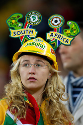 Fan of South Africa prior to the 2010 FIFA World Cup South Africa Quarter Finals football match between Uruguay and Ghana on July 02, 2010 at Soccer City Stadium in Sowetto, suburb of Johannesburg. Uruguay defeated Ghana after penalty shots. (Photo by Vid Ponikvar / Sportida)