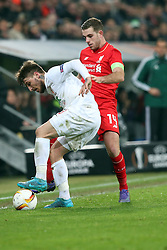 18.02.2016, WWKArena, Augsburg, GER, UEFA EL, FC Augsburg vs FC Liverpool, Sechzehntelfinale, Hinspiel, im Bild Konstantinos Stafylidis ( FC Augsburg ) Jordan Henderson ( FC Liverpool ) // during the UEFA Europa League Round of 32, 1st Leg match between FC Augsburg and FC Liverpool at the WWKArena in Augsburg, Germany on 2016/02/18. EXPA Pictures © 2016, PhotoCredit: EXPA/ Eibner-Pressefoto/ Langer<br /> <br /> *****ATTENTION - OUT of GER*****