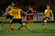 Gwion Edwards watches his shot fizz past the post during the Sky Bet League 2 match between Crawley Town and Newport County at the Checkatrade.com Stadium, Crawley, England on 1 March 2016. Photo by Michael Hulf.