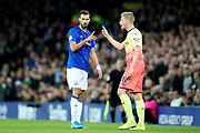 Manchester City midfielder Kevin De Bruyne (17) gives Everton midfielder Morgan Schneiderlin (18) the benefit of his thoughts after the Everton man fouled him  during the Premier League match between Everton and Manchester City at Goodison Park, Liverpool, England on 28 September 2019.