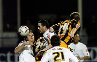 Photo: Leigh Quinnell.<br /> Luton Town v Hull City. Coca Cola Championship. 13/03/2007. Hulls David Livermore rises above the Luton defence to head in a goal.