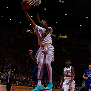 03 February 2018: The San Diego State Aztecs look to rebound after a couple losses against Air Force Saturday night. San Diego State Aztecs guard Jeremy Hemsley (42) lays the ball up on a break away late in the second half. The Aztecs beat the Falcons 81-50 at Viejas Arena.<br /> More game action at www.sdsuaztecphotos.com