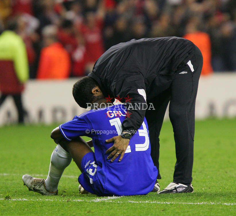 LIVERPOOL, ENGLAND. TUESDAY, MAY 3rd, 2005: Chelsea's dejected William Gallas after losing 1-0 to Liverpool during the UEFA Champions League Semi Final 2nd Leg at Anfield. (Pic by David Rawcliffe/Propaganda)