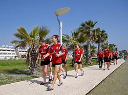 LARNACA, CYPRUS - Tuesday, March 6, 2018: Wales' Rachel Rowe and Melissa Fletcher during a team walk around the Palm Beach Hotel & Bungalows in Larnaca on day eight of the Cyprus Cup tournament. (Pic by David Rawcliffe/Propaganda)
