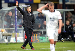 Dundee manager Jim McIntyre (left) during the Scottish Premiership match at Dens Park, Dundee.