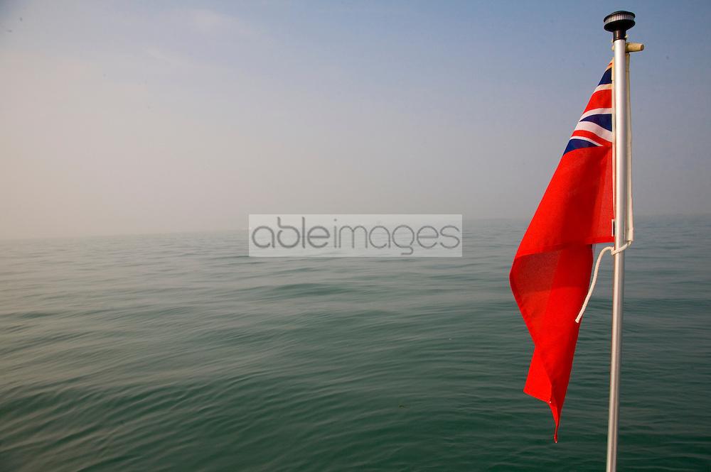 British maritime flag at sea