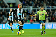 Joelinton (#9) of Newcastle United on the ball during the Premier League match between Newcastle United and Bournemouth at St. James's Park, Newcastle, England on 9 November 2019.