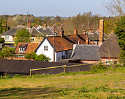 Rooftops of clustered housing nucleated rural settlement village of Shottisham, Suffolk, England, UK