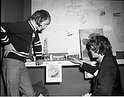 3/1/75.1/3/75.3rd January 1975.The Aer Lingus Young Scientist Exhibition at the RDS, Dublin...Picture shows Alfie Burns (left) and Frank Barry of Mount Sion CBS, Waterford, who did a project on Irelands offshore oil and gas resources in the junior section of the Group Projects.