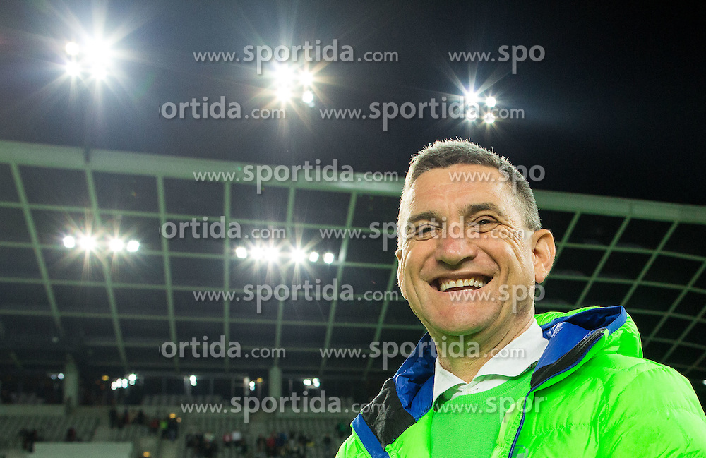 Marijan Pusnik, head coach of Olimpija celebrates after winning 5-0 during football match between NK Olimpija Ljubljana and NK Krsko in 13th Round of Prva liga Telekom Slovenije 2015/16, on October 4, 2015 in SRC Stozice, Ljubljana, Slovenia. Photo by Vid Ponikvar / Sportida