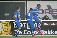 *Kingsley Ehizibue* of PEC Zwolle celebrates 1-0 with *Ryan Thomas* of PEC Zwolle, *Terell Ondaan* of PEC Zwolle